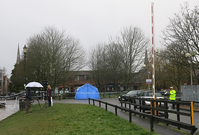 Police forensics tent at The Maltings Salisbury