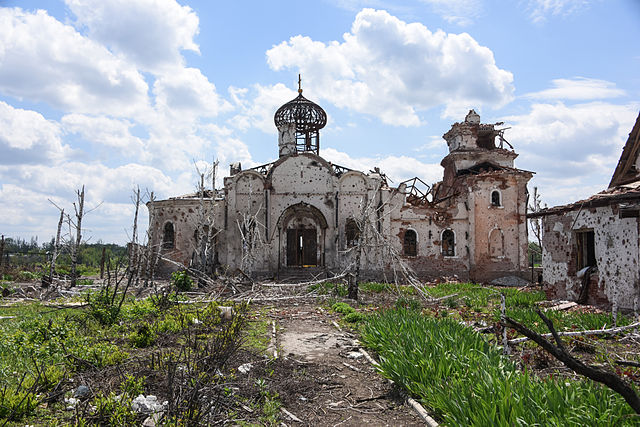 Remains of an Eastern Orthodox church after shelling near Donetsk International Airport